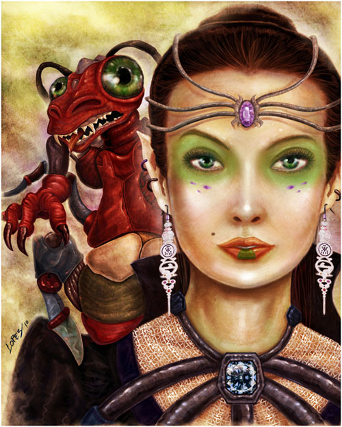 Sapphira and her pet_digital_painting_by_seattle_graphic_designer_lylelopez